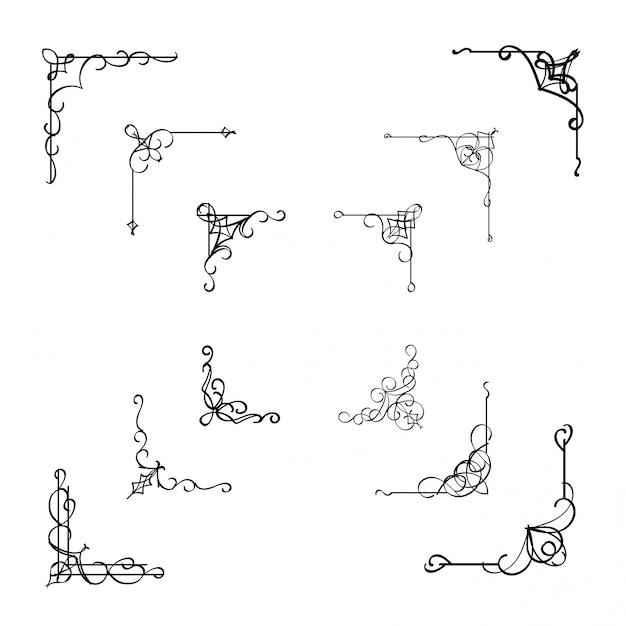 Elemento divisor de moldura de canto caligráfico Vetor Premium
