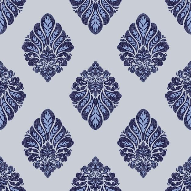 Elemento do damasco padrão sem emenda. ornamento de damasco à moda antiga de luxo clássico de vetor, textura sem costura vitoriana real para papéis de parede, têxteis, envolvendo. vintage requintado floral modelo barroco. Vetor grátis