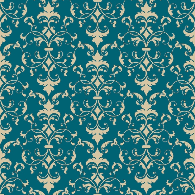 Elemento do teste padrão sem emenda do damasco. enfeite de damasco antiquado de luxo clássico Vetor grátis