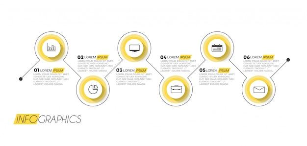 Elemento infográfico com 6 opções ou etapas. pode ser usado para processo, apresentação, diagrama, layout de fluxo de trabalho, gráfico de informação, design web. Vetor Premium