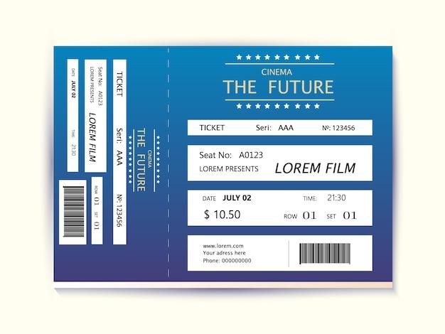 Elemento moderno de cartão de bilhete de cinema Vetor Premium