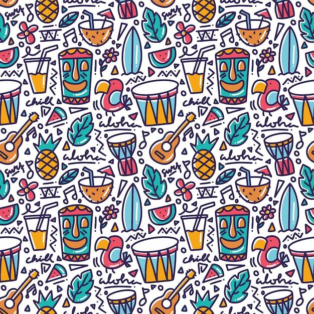 Elemento tropical do havaí doodle padrão sem emenda Vetor Premium