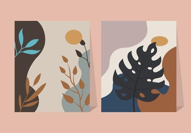 Elementos abstratos de folhas tropicais fundo de pôster de flores Vetor Premium