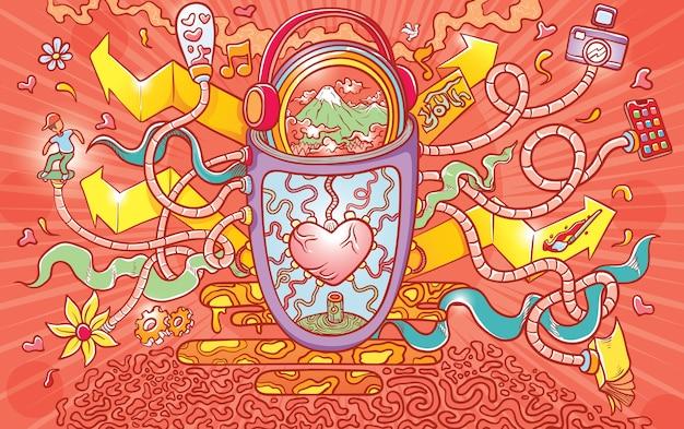 Elementos abstratos do amor Vetor Premium