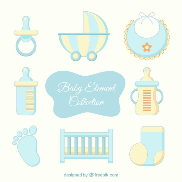 Elementos amarelos e azuis do bebê Vetor Premium