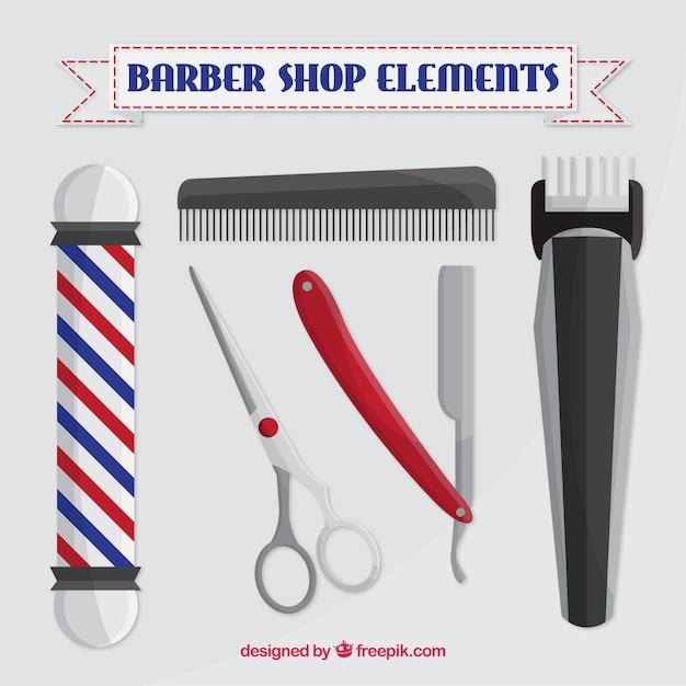 Elementos barbearia em estilo realista Vetor grátis