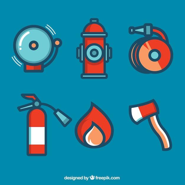 Elementos-bombeiro Vetor grátis
