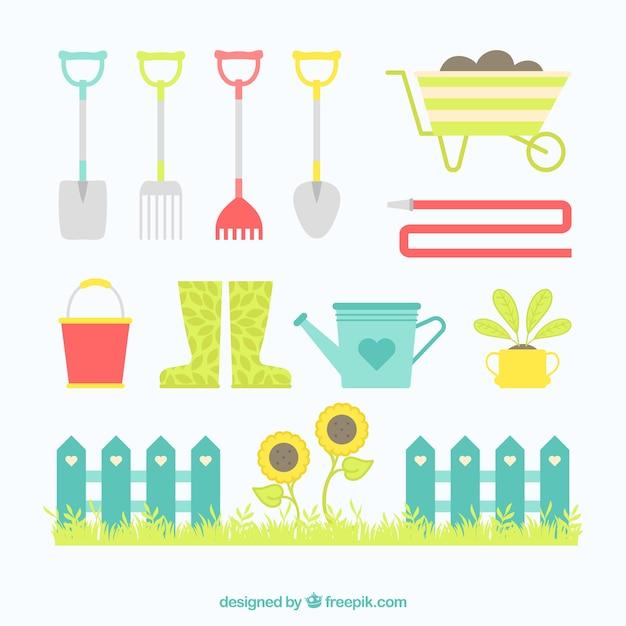 Elementos bonitos de jardinagem Vetor grátis