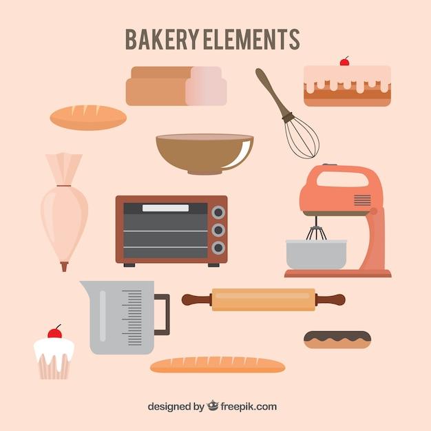 Elementos bonitos de padaria em design plano Vetor grátis