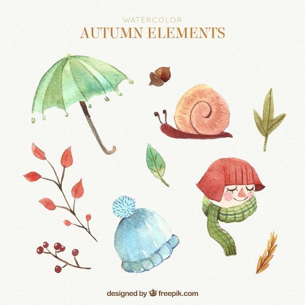 Elementos bonitos do outono com estilo aquarela Vetor grátis