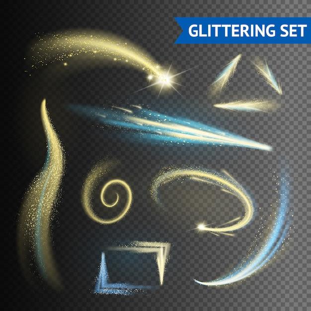Elementos brilhantes cintilantes dourados isolados no fundo transparente Vetor grátis