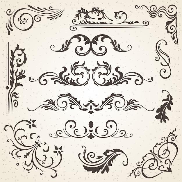 Elementos caligráficos e decoração de página Vetor Premium