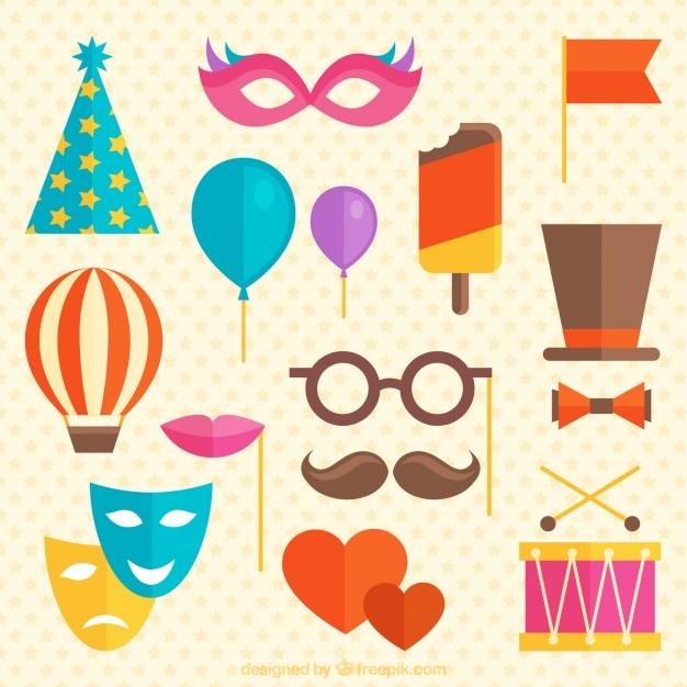 Elementos carnavalescos plana em estilo colorido Vetor grátis