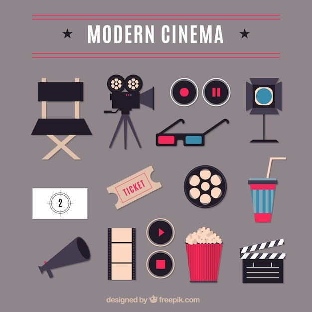 Elementos cinema moderno planas Vetor grátis