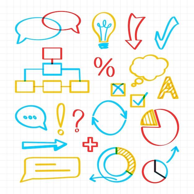 Elementos coloridos do infográfico escolar Vetor grátis