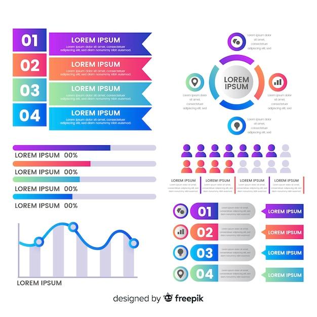 Elementos coloridos infográfico com efeito de gradiente Vetor grátis
