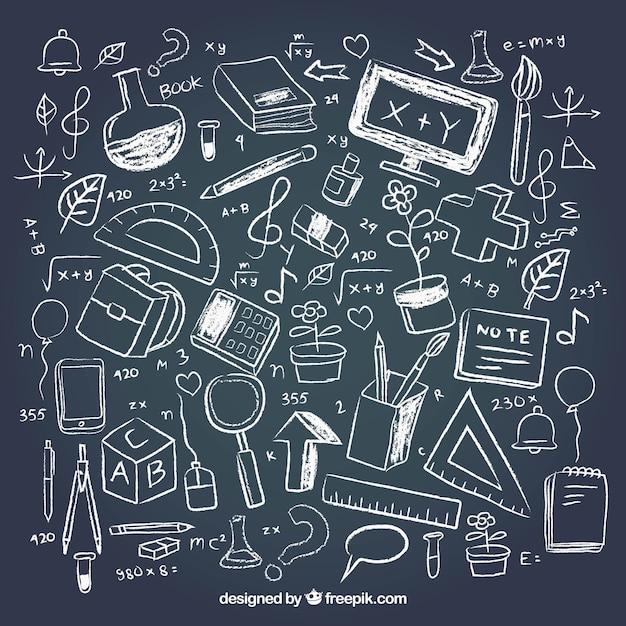 Elementos criativos da escola no estilo do quadro-negro Vetor grátis