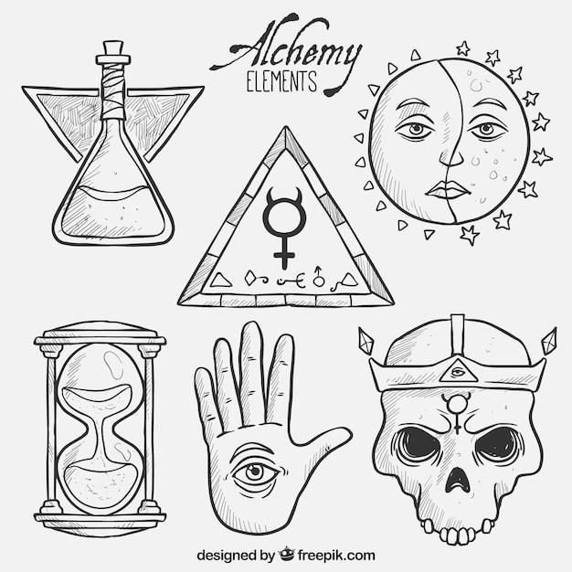 Elementos da alquimia desenhados mão Vetor grátis