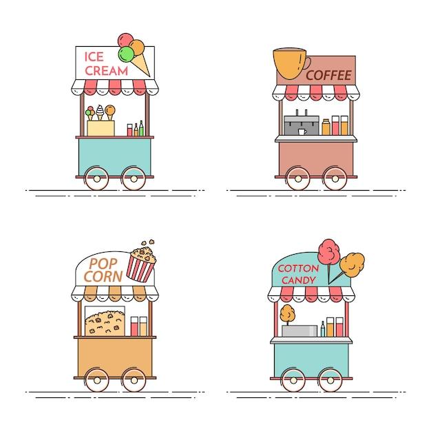Elementos da cidade de café, pipoca, sorvete, caminhões de algodão doce. Vetor Premium