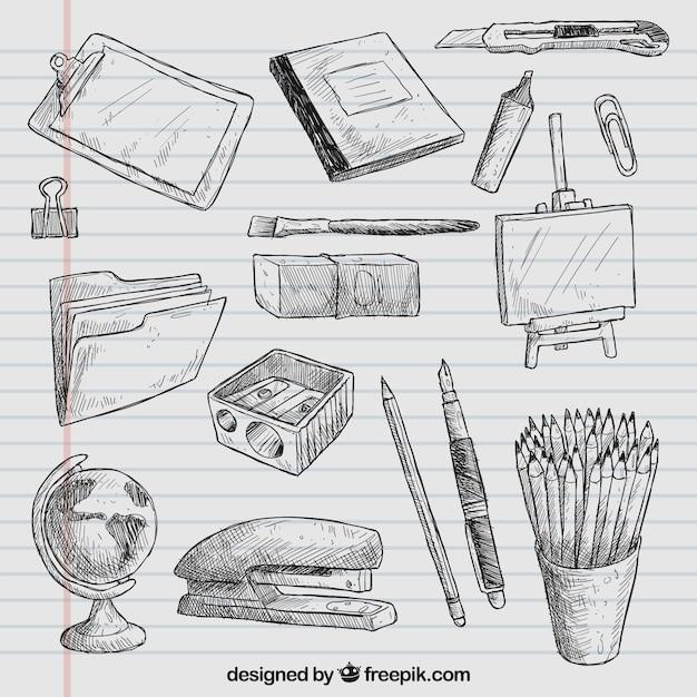 Elementos da escola desenho Vetor grátis