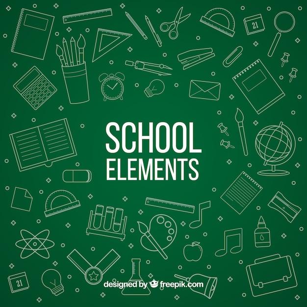 Elementos da escola no estilo do quadro-negro Vetor grátis