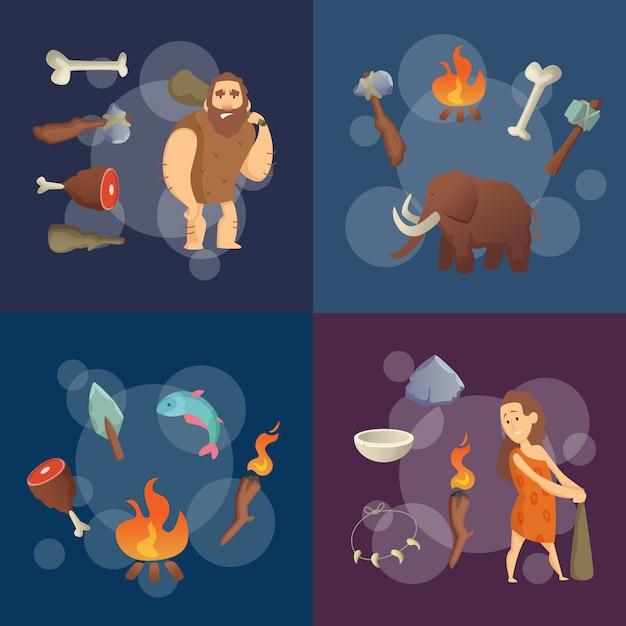 Elementos da idade da pedra. ilustração em vetor homens das cavernas dos desenhos animados Vetor Premium