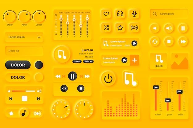 Elementos da interface do usuário para o aplicativo móvel do music player. configurações do equalizador, lista de reprodução com composições, modelos de gui da barra de pesquisa. kit de design ui ux neumórfico exclusivo. navegação e componentes de áudio. Vetor Premium