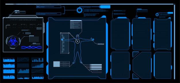 Elementos da interface hud, ui, gui. texto explicativo conjunto de títulos. etiquetas de barra de texto destacado futurista, barras de caixa de chamada de informações e modelos modernos de layout de caixas de informação digital. títulos de frases de destaque no estilo hud. Vetor Premium