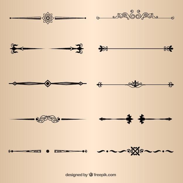 Elementos da página divisores decorativos vector Vetor grátis