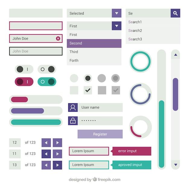Elementos da web e botões em design plano Vetor grátis