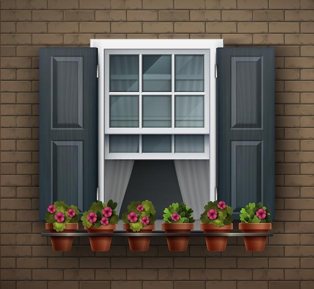 Elementos de arquitetura, plano de fundo da janela. janela com vasos de flores na parede. elemento da casa dos desenhos animados. close-up vista de uma bela janela emoldurada branca com flores Vetor Premium