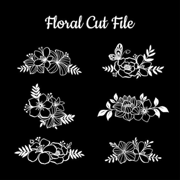 Elementos de arquivo de corte floral bonito Vetor Premium