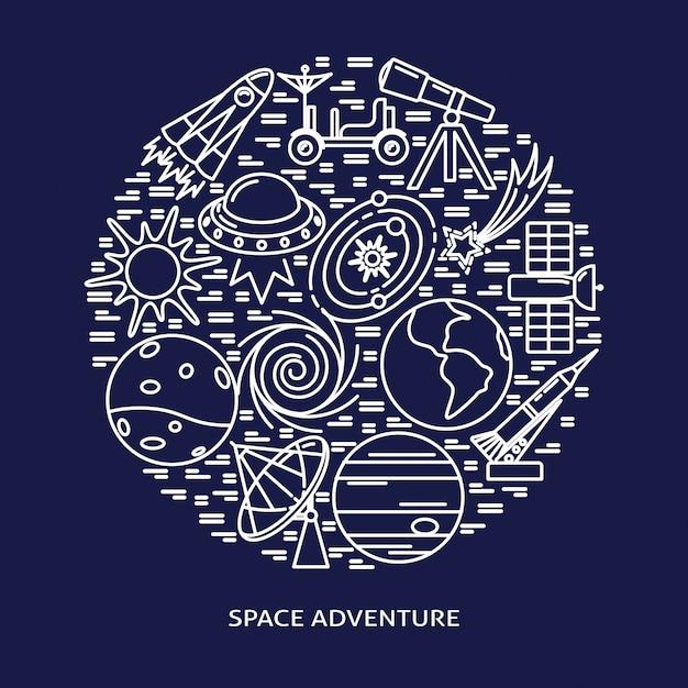 Elementos de aventura espacial rodada composição em estilo de linha Vetor Premium