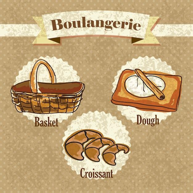 Elementos de boulangerie em fundo vintage Vetor Premium