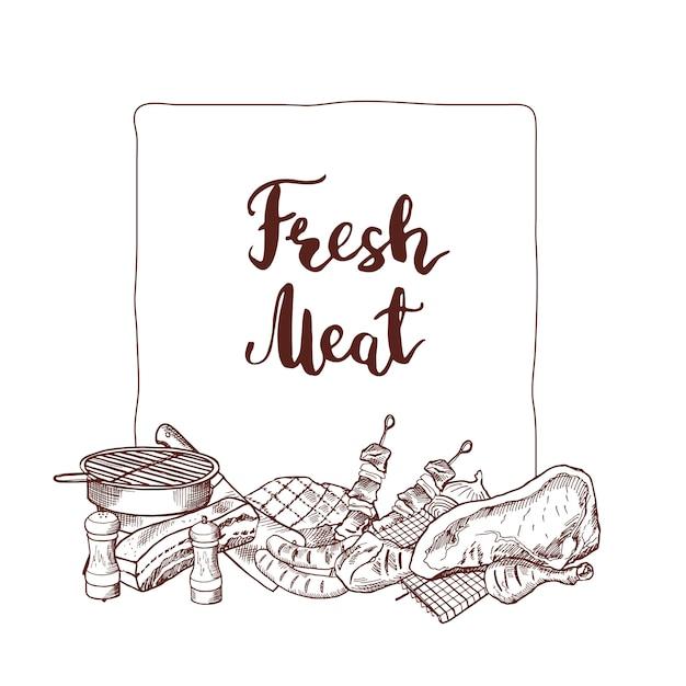 Elementos de carne monocromático de mão desenhada reunidos sob o quadro com lugar para texto Vetor Premium