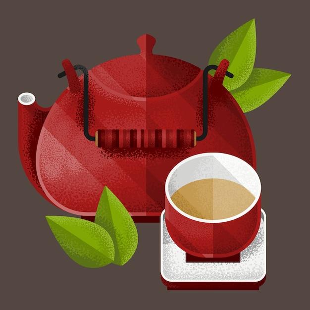 Elementos de chá verde Vetor grátis