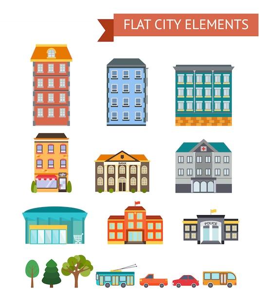 Elementos de cidade plana com loja de edifícios residenciais e administrativos e café transportam ilustração vetorial de árvores isoladas Vetor grátis
