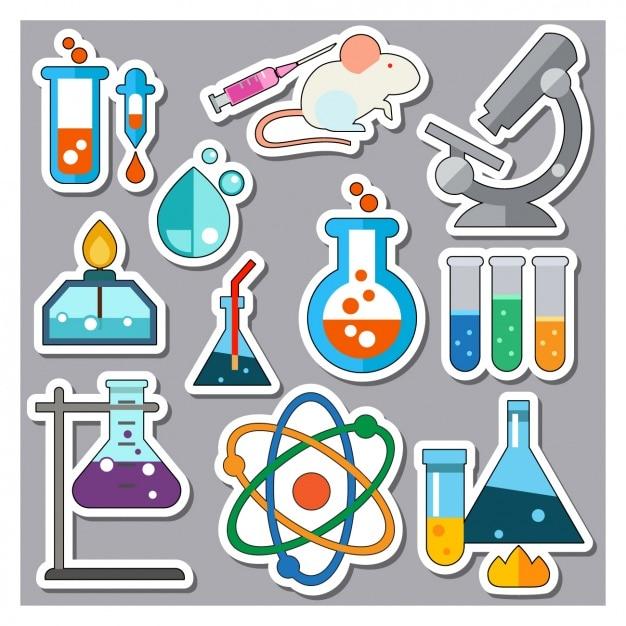 Elementos de ciência adesivos coleção Vetor grátis
