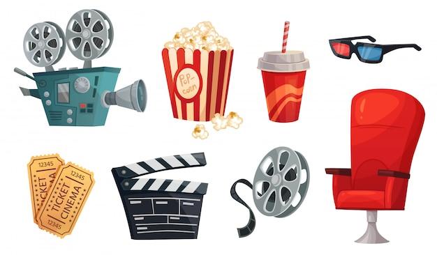 Elementos de cinema dos desenhos animados. pipoca de cinema, claquete de cinema e conjunto de ilustração de câmera de filme retrô Vetor Premium