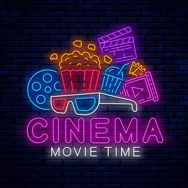 Elementos de cinema neon Vetor Premium