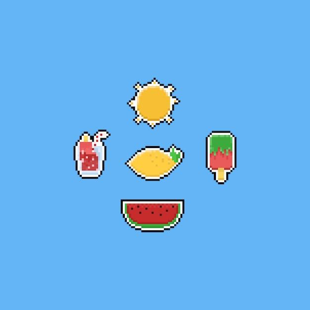Elementos de comida de verão pixel. 8 bits Vetor Premium
