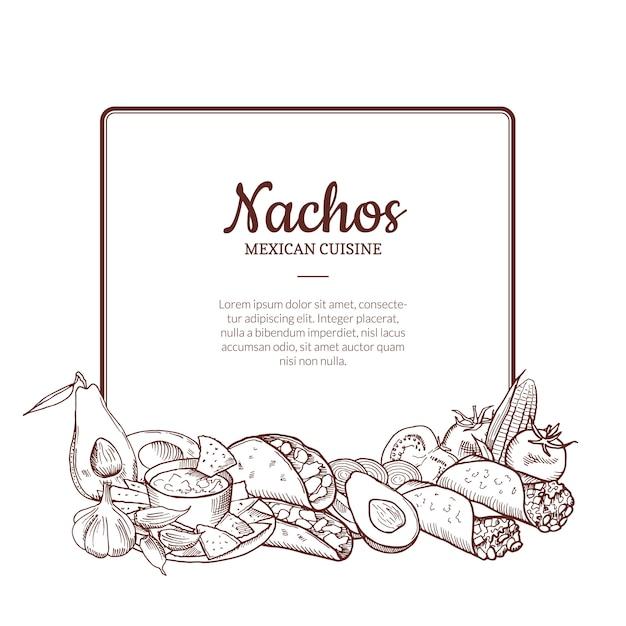 Elementos de comida mexicana esboçados reunidos sob o quadro com lugar para texto Vetor Premium