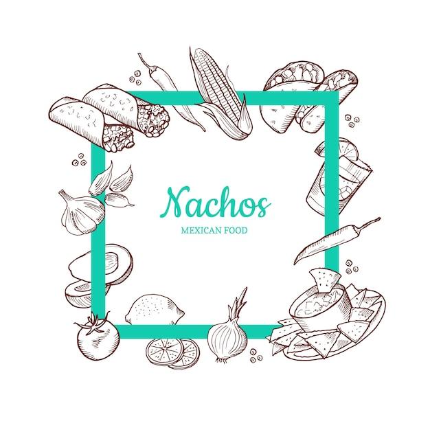 Elementos de comida mexicana esboçados voando em torno do quadro vazio negrito Vetor Premium