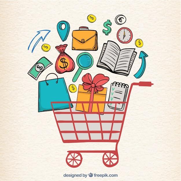 Elementos de compras desenhados m o e carrinho baixar for Compra de vajillas online