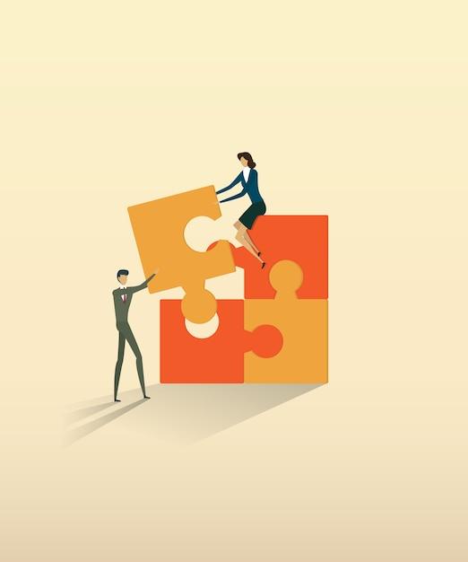 Elementos de conexão do enigma da parceria dos povos dos trabalhos de equipa do negócio. Vetor Premium