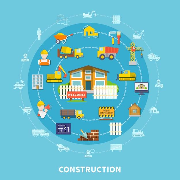 Elementos de construção plana Vetor grátis
