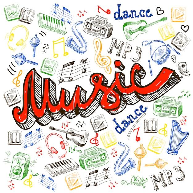 Elementos de cor de música Vetor grátis