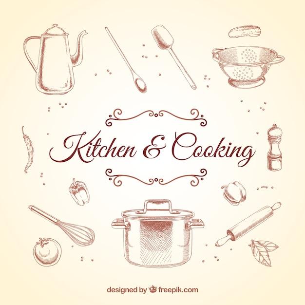 Elementos de cozinha retros Vetor grátis
