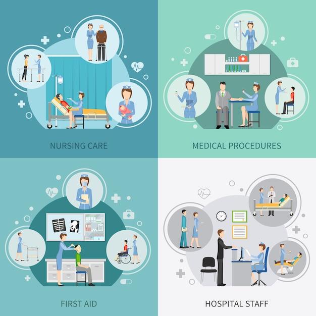 Elementos de cuidados de saúde de enfermeira e personagens Vetor grátis