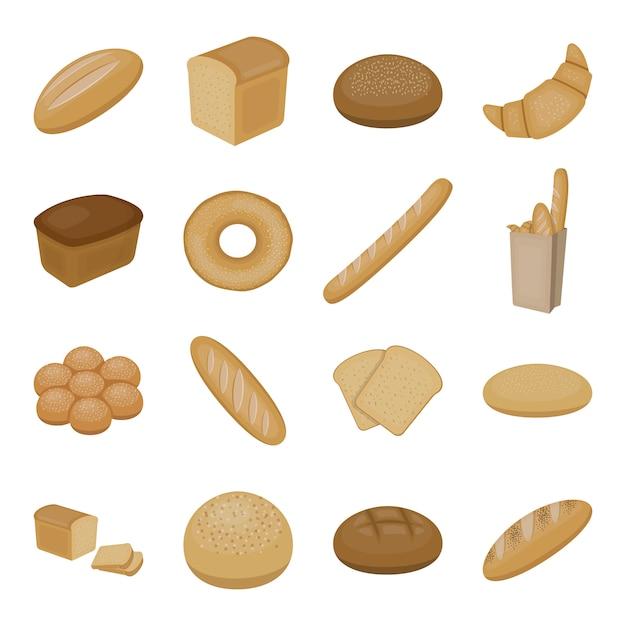 Elementos de desenho animado de pão. ilustração em vetor pão padaria. Vetor Premium